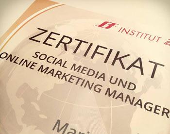 Zertifikat Social Media und online Marketing Manager- Ausbildung bei Institut 2F